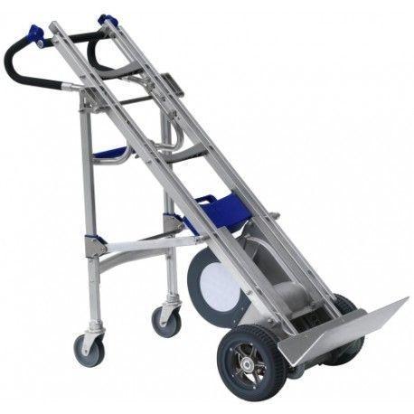 Carro sube escaleras eléctrico 330 kg con patas de apoyo.