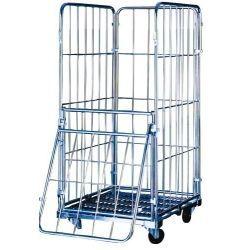 Supermercados y almacenes--Carro con ruedas y cerrado por los laterales