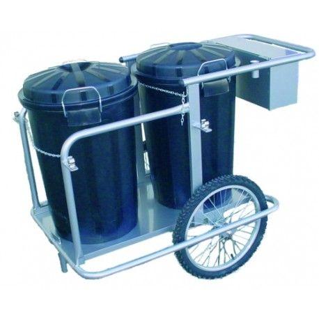 Bidones de plástico y chapa--Carro barrendero inox 2 cubos