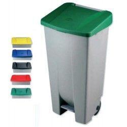 Bidones de plástico y chapa--Cubo tapa de colores 120L