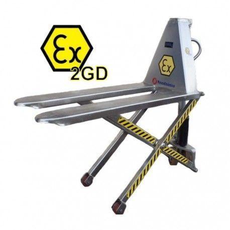 Transpaleta de tijera manual ATEX INOX 1000 kg.