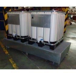 Cubetas de polietileno & metálicas --Cubeta galvanizada 2 depósitos 1.000L