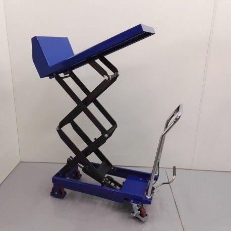 Mesas Especiales--Mesa elevadora manual inclinable 150 Kg