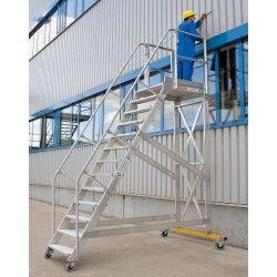 Escalera industrial desplazable con plataforma