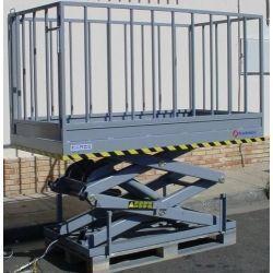 Mesas Especiales--Mesa Elevadora Eléctrica de Tijera 1000kg (con barandillas)