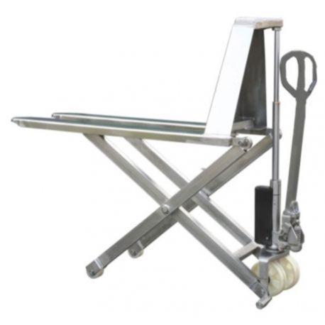 Transpaletas de tijera--Transpaleta Inox 1000x520mm carga 1000kg
