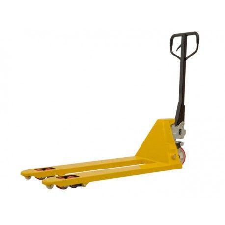 Transpaleta manual estándar capacidad de carga 2500 kg ruedas del timón y rodillos de poliuretano