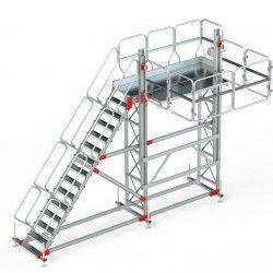 Escaleras--Plataforma con Barandilla Regulable