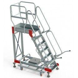 Escaleras--Escalera Aluminio Plataforma y 4 Ruedas