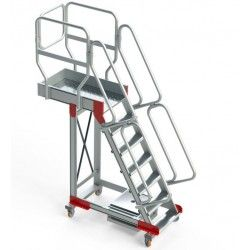 Escaleras--Escalera de Aluminio con Plataforma y Vuelo