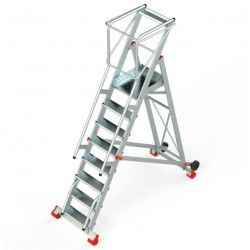 Escalera Robusta con Plataforma, Ruedas y Peldaños