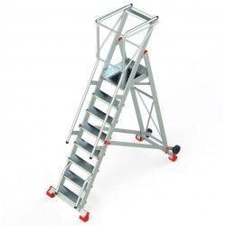 Escaleras--Escalera Robusta con Plataforma, Ruedas y Peldaños