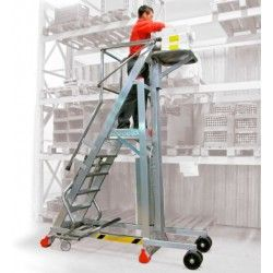 Escalera con Plataforma de Trabajo y Plano de carga de Elevación