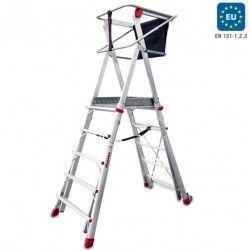 Escalera Plegable con amplia plataforma regulable en altura y ruedas
