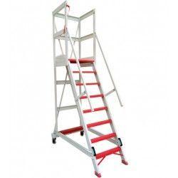 Escalera con Plataforma y barandilla de seguridad de fibra de vidrio