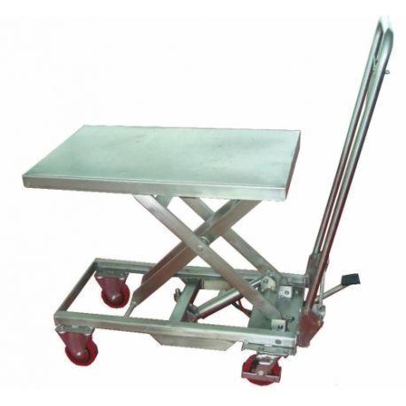 Mesas Manuales--Mesa Elevadora Inoxidable 200kg a 910mm (INOX)