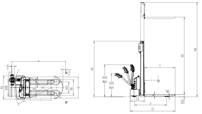 Medidas apilador eléctrico M102020201