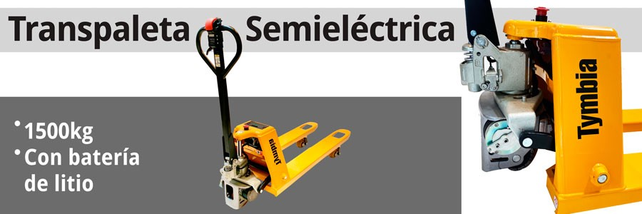 Transpaleta semi-eléctrica con bateria de litio
